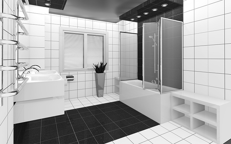 black and white tiles in bathroom new