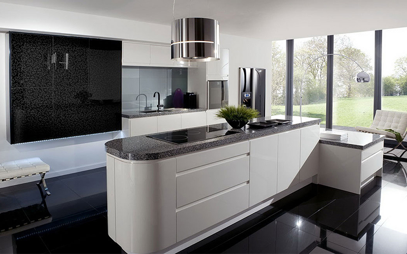 black and white tiles in kitchen new